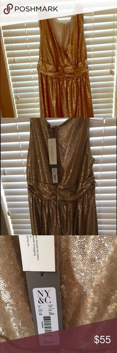 Eva Mendez gold party dress by NY &Co NWTO beautiful party dress with gold sequins. New York & Company Dresses Midi