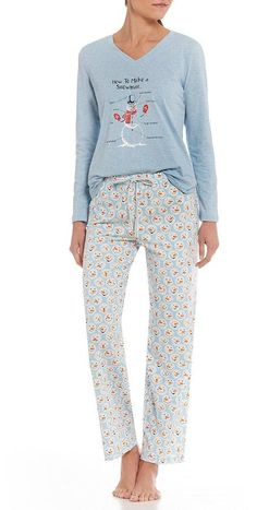 aefdd0ef85 Sleep Sense Petite How to Make A Snowman Pajamas in blue