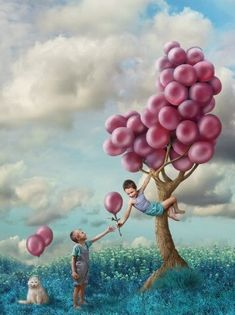 Surreal photograph with a tree that has balloons for fruit Art And Illustration, Illustrations, Balloon Tree, Moon Balloon, Photo D Art, Wassily Kandinsky, Art Plastique, Surreal Art, Tree Art