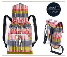 21 Wonderful Picture of Backpack Sewing Pattern Backpack Sewing Pattern Tutorial With Many Pictures Easy To Sew Trendy Drawcord Backpack Backpack Tutorial, Diy Backpack, Backpack Pattern, Easy Sewing Patterns, Bag Patterns To Sew, Sewing Tutorials, Sewing Kits, Handbag Patterns, Fabric Bags