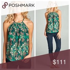 """Floral Racerback Tank Racerback tank in a bright green multi polyester print has a high neckline with subtle pleating and a keyhole back. Bust laying flat- S 17"""" M 18"""" L 19"""". Length- S 22"""" M 23"""" L 24"""" 1 North 1 South Tops"""