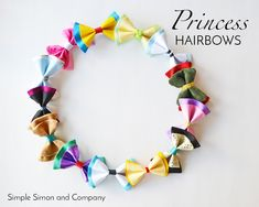 Disney Princess (and Villian) inspired Hair Bows – Simple Simon and Company - Hair Bows DIY Disney Princess Crafts, Disney Diy, Disney Crafts, Disney 2017, Disney Girls, Disney Princesses, Disney Princess Hairstyles, Princess Hair Bows, Disney Hair Bows
