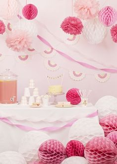 The ultimate pink party, using pink party decorations, balloons, glitter tape and pink honeycomb balls to style a pretty pink table arrangement and backdrop. Pink Party Decorations, Honeycomb Decorations, Pink Party Tables, Girl Birthday, Birthday Parties, Birthday Ideas, Pink Parties, Everything Pink, Princess Party