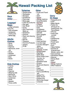 Hawaii Packing List: Everything You Need for an Island Vacation Free Printable! No matter which island you go to , use our Hawaii Packing List to make sure you have everything you need for your island vacation Travel Packing Checklist, Packing List For Vacation, Maui Vacation, Travel Tips, Vacation Travel, Packing Tips, Travel Destinations, Vacations, Hawaii Packing Lists