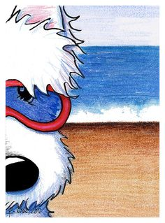 Westie Terrier beach art print by children's book Illustrator, Kim Niles of KiniArt studios.  *Original illustration is currently available on Etsy at http://KiniArt.etsy.com