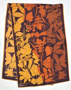 "Vintage VERA NEUMANN Signed Orange Purple LEAVES Silk Blend Rayon 42"" Long Scarf #Vera #Scarf #Casual"