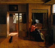 Interior with a Mother delousing her child's hair, known as 'A Mother's duty' Pieter de Hooch. ( 1629 - 1684 )