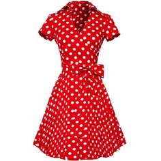 Red White Polka Dot Bow Decor V Neck Casual Midi Dress (36 CAD) ❤ liked on Polyvore featuring dresses, polka dots, red, red dress, white embellished dress, midi dress, white short sleeve dress and white a line dress