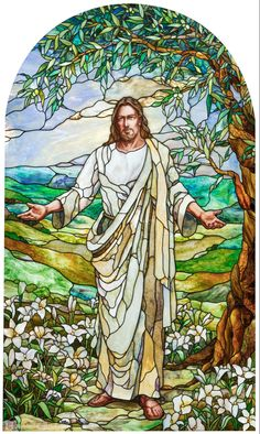 "Paris LDS Temple Christ, ""Consider the Lilies"" By Holdman Studios Artists Tom Holdman, Aaron Yorgason, Cameron Oscarson. Mormon Temples, Lds Temples, Stained Glass Church, Stained Glass Art, Jesus E Maria, Pictures Of Jesus Christ, Lds Art, Jesus Art, Jesus Is Lord"