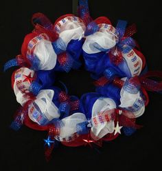 Patriotic Poly Mesh Wreath RWB Deco Poly Mesh by wreathsbyrobin, $48.00