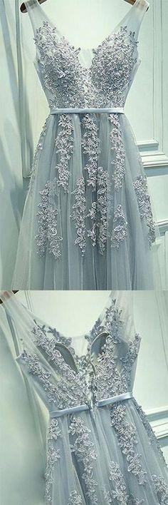 fbbdb3559cd8 Abendkleid Bodenlang A-Linie Princess-Stil Ärmellos V-Ausschnitt Tülle  Applika.