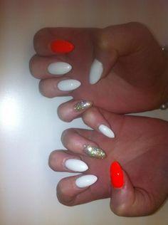 Bling white orange nails