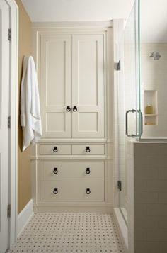 Image result for built in bathroom storage cabinets