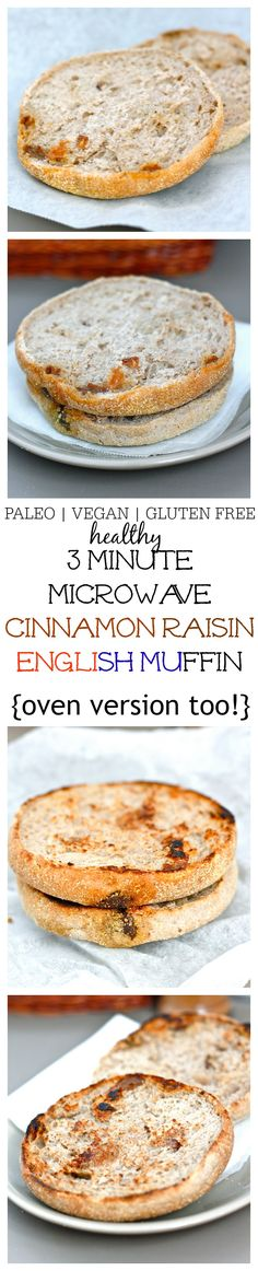 Microwave Cinnamon Raisin English Muffin- Just THREE minutes and a simple ingredient list is needed to whip up this Cinnamon Raisin microwave English muffin which is JUST like the real deal! There are three versions- Paleo, Vegan and Gluten Free to suit most dietary lifestyles- For those without a microwave, there is an oven friendly version! @thebigmansworld- thebigmansworld.com