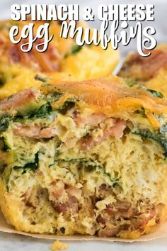 Spinach & Cheese Egg Muffins - A mini frittata made with bacon, onions, cheese and spinach. Always a breakfast fave! Breakfast For Dinner, Breakfast Dishes, Breakfast Casserole, Potato Casserole, Breakfast Ideas, Easy Waffle Recipe, Waffle Recipes, Spinach Egg, Spinach And Cheese