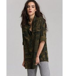 71d7874a53c34 Women`s Button Down Shirt Long Sleeve Causal Military Camouflage Blouse  With Pocket - Camouflage