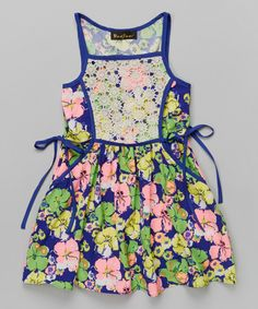 Look at this Green & Pink Lace Daisy Dress - Girls on #zulily today!