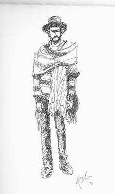 Contour drawing of one of the photos in Closer (http://www.thesartorialist.com/book-closer/)