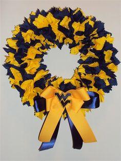 WVU wreath. (I see black and gold for Iowa Hawkeyes) or...