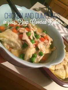 Corin Bakes: Chicken and Dumplings in your Deep Covered Baker Pampered Chef Party, Pampered Chef Recipes, Baker Recipes, Cooking Recipes, Cooking Tips, Rock Crock Recipes, Chicken Recipes, Hamburger Side Dishes, Deep Covered Baker