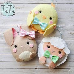 Cute felt Easter ornaments ~ chick, lamb, bunny rabbit by TiTics. Top 100 Diy Spring & Easter Decoration Ideas - Page 65 of 100 - cute collection of farm critters, a chick, lamb and bunny. Great for baby room! Catch spring fever with our quick and easy Ea Kids Crafts, Crafts For Teens, Felt Crafts, Easter Crafts, Fabric Crafts, Diy And Crafts, Easter Decor, Kids Diy, Easter Ideas