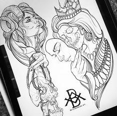 Animal Line Drawings, Cool Art Drawings, Head Tattoos, Sleeve Tattoos, Tattoo Sketches, Tattoo Drawings, Blackwork, Neo Traditional Art, Skeleton Drawings