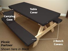 Picnic Partner: Not a table CLOTH. a table COVER! This uniquely designed cover is sized to snuggly fit most standard 6 foot park style picnic tables. Camping 101, Camping Glamping, Camping Life, Camping Ideas, Outdoor Fun, Outdoor Camping, Picnic Table Covers, Rv Organization, Organizing
