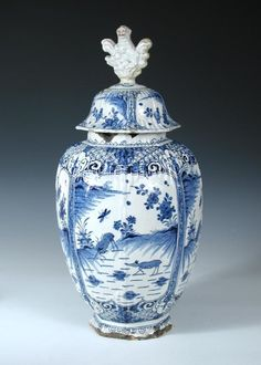 A late 17th/early 18th century Dutch Delft blue and white jar and cover, the ovoid body painted with four panels of deer below foliate vignettes on a diamond diaper ground on the ribbed shoulders, the cover with Buddhist lion finial, its surprised facial details picked out in red, A J K monogram, possibly for a member or the Kocx family, 53cm (21 in) high (2) (D)  - Cheffins