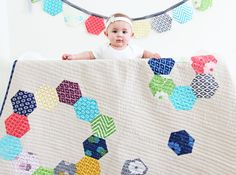hexagon quilt pattern called confetti by V and Co. Baby Patterns, Quilt Patterns, Modern Patterns, Getting Ready For Baby, Quilt Baby, Hexagon Quilt, Fat Quarter Shop, Quilt Kits, Quilt Blocks