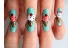 Cute ice-cream nail art designs where the finger nails are designed as ice creams Cute Nail Art, Cute Nails, Pretty Nails, Diy Nails, Sassy Nails, Nail Art Original, Cherry Nail Art, Jolie Nail Art, Ice Cream Nails