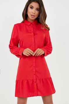 Mid weight non stretch fabric Point collar Front button placket Long sleeve with button cuffs Frill hem Polyester Machine wash Model wears a size 8 and her height is No Frills, Stretch Fabric, High Neck Dress, Shirt Dress, Long Sleeve, Hot, Model, How To Wear, Shirts