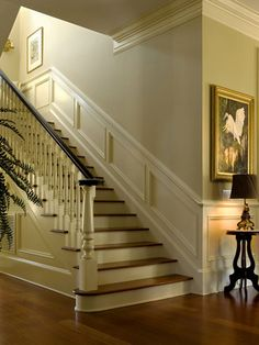 Nice moldings accentuate interior - traditional - Staircase - Charleston - Christopher A Rose AIA, ASID Staircase Molding, Interior Staircase, Staircase Design, Wainscoting Stairs, Wainscoting Ideas, Stairs Flooring, Railing Design, Georgian Interiors, Georgian Homes