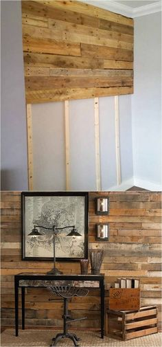 30 best DIY shiplap wall and pallet wall tutorials and beautiful ideas for every room. Plus alternative methods to get the wood wall look easily! A Piece of Rainbow ideen Shiplap Wall and Pallet Wall: 30 Beautiful DIY Wood Wall Ideas Diy Pallet Wall, Diy Wood Wall, Diy Pallet Projects, Home Projects, Pallet Walls, Wood On Walls, Palet Wood Wall, Wood Bedroom Wall, Bathroom Wood Wall