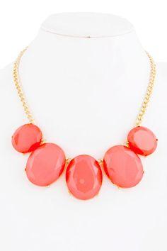 Coral Resin Set Necklace $19.50   e-closet