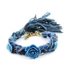 Turquoise Triple Flower Multi Denim Vintage Ribbon Bracelet with Sapphire Rhinestone. by Ettika Jewelry