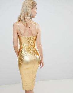 Find the best selection of Flounce London cami strap metallic midi dress. Shop today with free delivery and returns (Ts&Cs apply) with ASOS! Tight Dresses, Satin Dresses, Sexy Dresses, Yellow Fashion, Colorful Fashion, Dress For Chubby Ladies, Prom Dress Shopping, Metallic Dress, Leather Dresses
