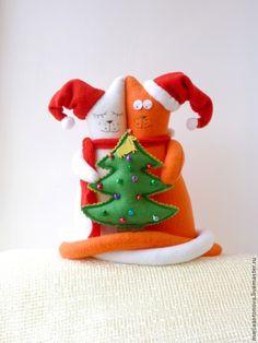Купить Новогодние коты-неразлучники, подарок на новый год - коты, кот, оригинальный подарок, украшение интерьера