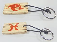 Keychain with zodiac sing and astrological symbol Pisces, birthday gift, keys organization, Valentine's Day, gift for him, gift for her, by BurnedMatchCreations on Etsy