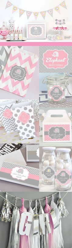 Elephant Baby Shower Decorations Supplies KIT Themes For Girls Pink Elephant…