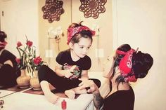 Lil pin up// so want to do this with Lyla!! And a greaser pic of the boys!