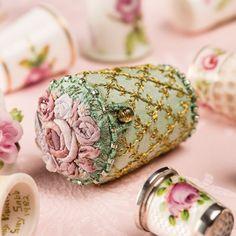 Fabric covered English Rose thimble holder!!  (via The Old Sewing Room / English Rose, The Thimble Holder)