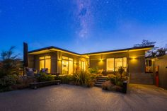 exterior dazzling sky Orange House, Holiday Accommodation, Breezeway, Indoor Outdoor, Exterior, Sky, Mansions, House Styles, Modern
