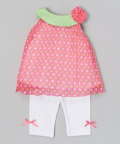 Pink & White Polka Dot Ruffle Tunic & Capri Leggings - Infant | zulily