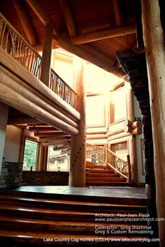 Spiral Log Stairs in a Luxury Log Cabin Home Luxury Log Cabins, Log Cabin Homes, Dream Home Design, My Dream Home, House Design, Home Developers, Log Home Designs, Cedar Log, Mountain Cabins