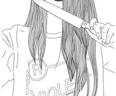 outline knife shirt hair dangerous bad