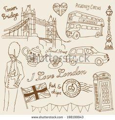 I Love London icons doodle set