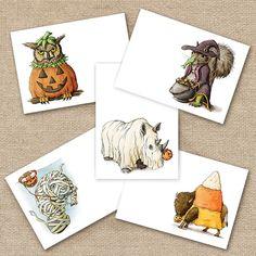 Halloween Mini Art Notes (Printable) Illustration, Black Artwork, Art Store, Hand Illustration, Painting, Mini Art, Art, Online Art Store