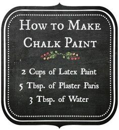 Chalk Paint Furniture - Need ideas for your furniture? - make chalk paint - chalk paint recipe Diy Chalk Paint Recipe, Make Chalk Paint, Chalk Paint Projects, Chalk Paint Furniture, Homemade Chalk Paint, Milk Paint, Chalky Paint, Paint Ideas, Furniture Makeover
