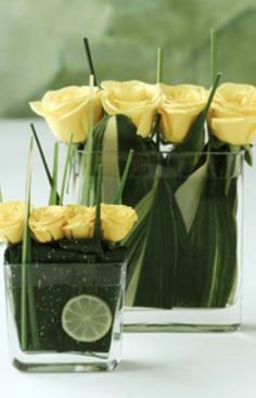 Lime and Yellow Roses Arrangement
