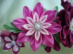 Украшение Цумами Канзаши Цветочная поляна Бусины Ленты фото 7